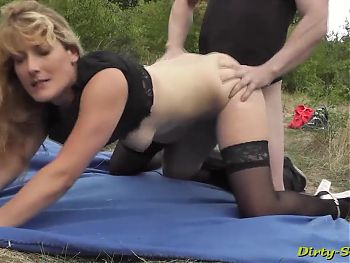Awesome lady had a picnic with guys outdoors.